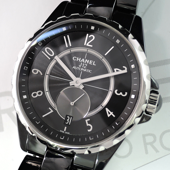 low priced 53ce1 9f7cd □シャネルCHANEL J12 黒セラミック 自動巻 メンズ腕時計 稼動 ...