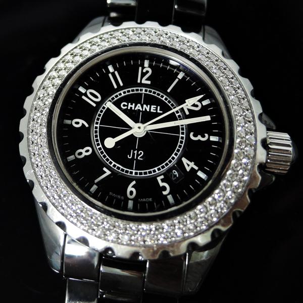 on sale cc0d1 12333 シャネル CHANEL J12 H0949 黒セラ ダイヤベゼル 黒 レディース ...